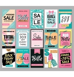 Set of social media sale website and mobile banner vector