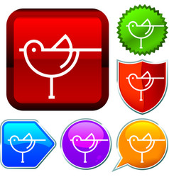 Set shiny icon series on buttons bird vector