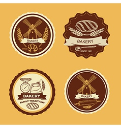 Set vintage bakery badges and labels retro vector
