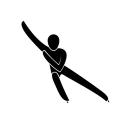 silhouette short track speed skating athlete vector image