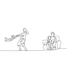 single continuous line drawing young father vector image