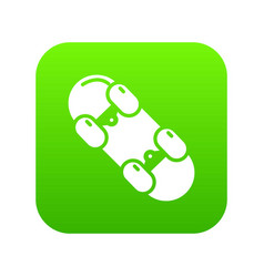 skateboard icon green vector image