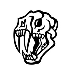 Skull saber-toothed cat mascot black and white vector