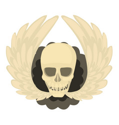 Skull with wings icon cartoon style vector
