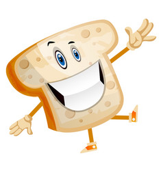 smiling bread on white background vector image
