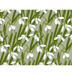 Snowdrops spring seamless background Hand-drawn vector image