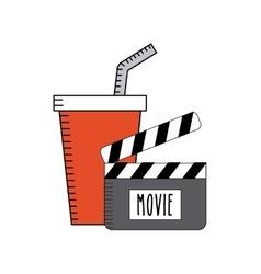soda drink with cinema icon vector image