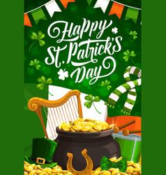 St ptarick day green hat pot with gold shamrock vector