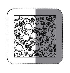 sticker silhouette pattern roses and butterflies vector image