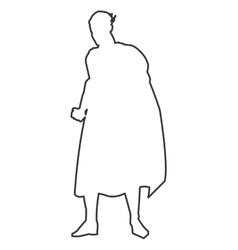 superheroe posing silhouette outline vector image