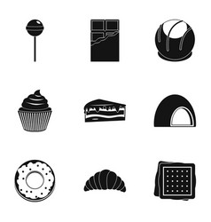 sweets icon set simple style vector image