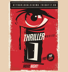thriller movies marathon retro poster design idea vector image