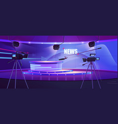 Tv news studio television broadcast room interior vector