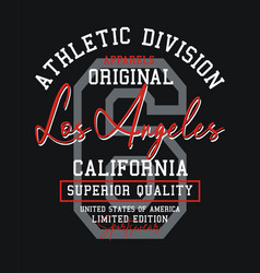 typography design atletic los angeles for t shirt vector image
