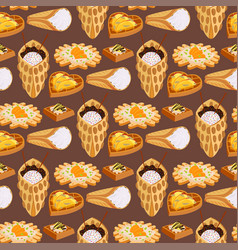 wafer cookies seamless pattern background waffle vector image