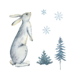 watercolor card with a rabbit fir trees vector image