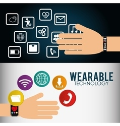 Wearable technology smart watch infographic flyer vector