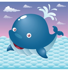 Whale in sea vector