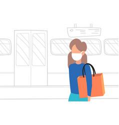 Woman subway passenger wearing mask protection vector