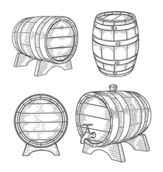 wooden barrel set vector image