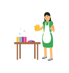 young woman character in green dress and white vector image