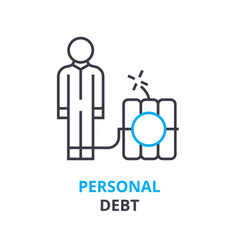 personal debt concept outline icon linear sign vector image vector image
