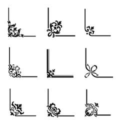 Set of 9 decorative corners vector image