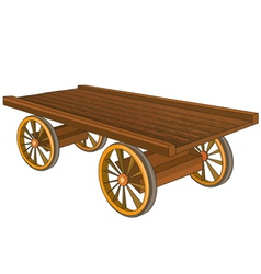 Vintage wooden cart isolated vector image vector image