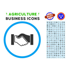 acquisition handshake rounded icon with set vector image vector image