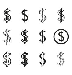 Dollars sign icon set dollar logo template vector image vector image
