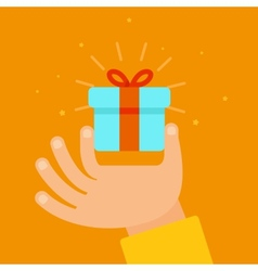hand giving present in flat style vector image vector image