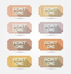 Paper admit one ticket set vector
