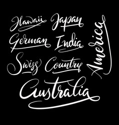 America and australia hand written typography vector