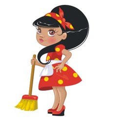 Cartoon girl with a broom vector