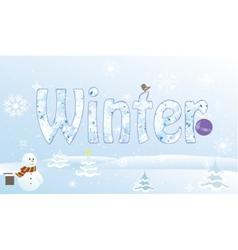 Christmas snowmansnowflake cartoon pine bells vector image vector image