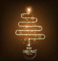 Merry Christmas card tree vector image