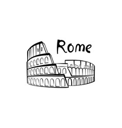 rome colosseum sign with lettering italian famous vector image
