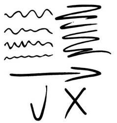 Stroke marker arrow tick and cross vector image vector image