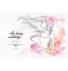 Wedding watercolor background vector image