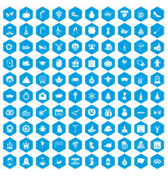 100 holidays icons set blue vector image