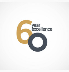 60 year anniversary excellence template design vector