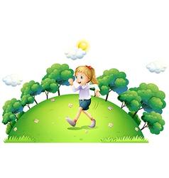 A girl running above hill vector