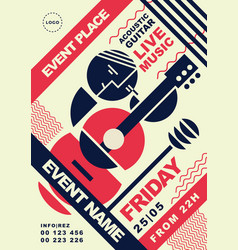 Acoustic guitar music event post vector