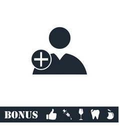 Add user icon flat vector