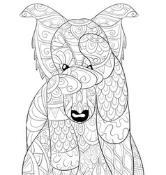 Adult coloring bookpage a cute cartoon dog image vector