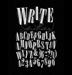 alphabet pen line style dark vector image