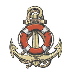 anchor and lifebuoy colorful tattoo vector image