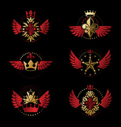 ancient crowns and military stars emblems set vector image