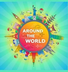 Around world - flat design travel composition vector