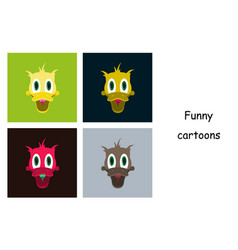 assembly of flat icons on theme funny animals duck vector image